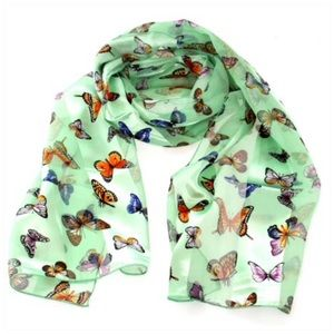 Garden butterfly print oblong striped satin scarf